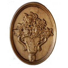 Wood Carving Wall Pano Vase with Flowers