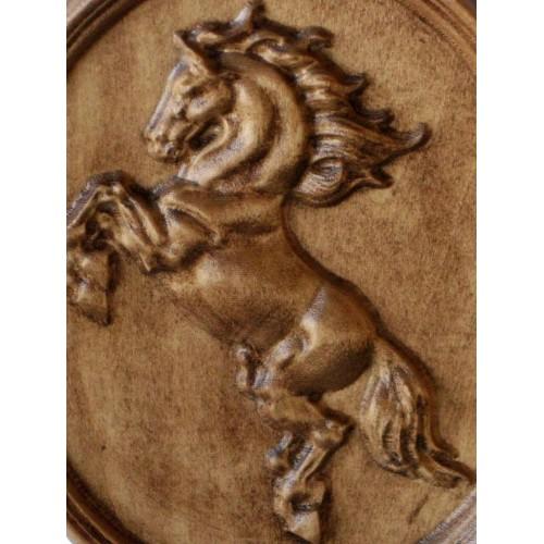 Wood carving wall pano horse