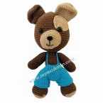 Handmade Toy Dog with Blue Jumpsuit