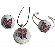 Embroidered Jewellery Butterfly Handmade