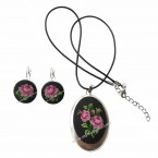 Embroidered Necklace and Earrings Black Rose